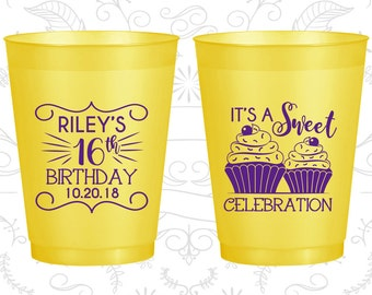 16th Birthday Frosted Cups, It's a sweet celebration, Cupcake Birthday, Frosted Birthday Cups (20041)