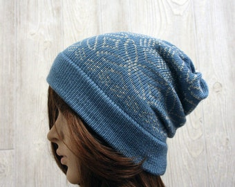 Fair isle knit slouchy beanie, blue slouchy toque, womens knit hat, Accessory
