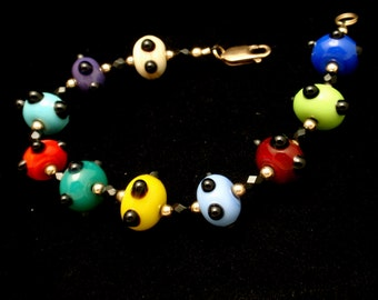 Multi-Colored Glass Bead Bracelet with Gold Filled Clasp