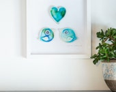 FRAMED Love BIRDS ceramics wedding gift by The Mood Designs