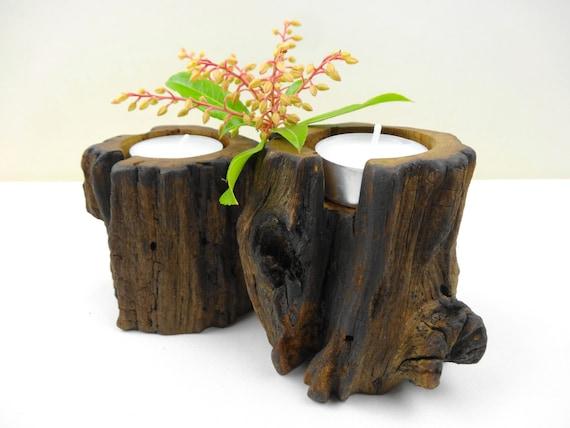 Wood Tea Light Centerpiece : Candle holder wooden holders centerpiece rustic
