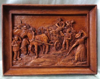"Very Fine Vintage Decorative Carved Cultivating Art 9.5 x 12.5"" Signed"