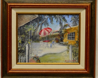 1991 Dorothy Hibbs A Place to Rest Oil Painting w. Antique Copper Finish Frame