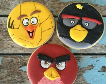 Angry Bird Movie custom decorated cookies - 1 Dozen