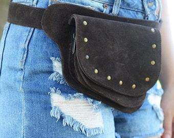 Byron Suede Utility Belt / Festival Belt / Pocket Belt / Bum Bag / Hip Bag / Festival Fanny Pack