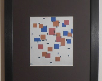 """Mounted and Framed - Composition in Colour A Print by Piet Mondrian - 14"""" x 11"""""""