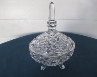 Vintage Imperial Pinwheel & Fan Footed Glass Candy Dish Serving Home Decor Bowls Mid Century Dining