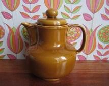 Vintage Colditz Mustard Yellow Brown Ceramic Teapot Coffeepot Coffee Tea Pot Mid Century Modern GDR East Germany 70's Kitchenware Tableware