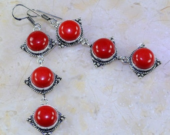 Long Dangle EARRINGS: Red Coral Gemstone Earrings, Genuine Gemstones, Boho Chic Earrings, Pierced Earrings,  One of a Kind Fab and Unique