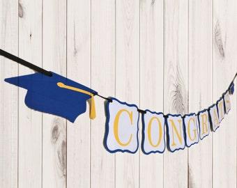 Graduation Banner - Graduation Party Decor - Class of 2017 - Pick your school colors