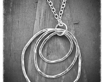 Silver Hoop Necklace, Organic Silver Necklace