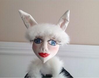 OOAK Art Doll, Bunny Rabbit Art Doll Emily shelf sitter, Whimsical Doll soft sculpture  cloth art doll