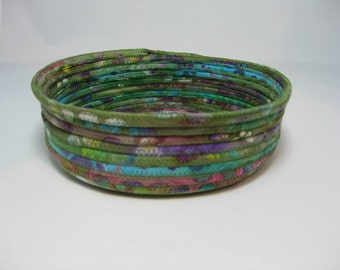 Coiled Fabric Bowl, Green Handmade Fabric Basket,