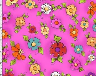 Loralie Designs -  Happy Blooms Cerise Fabric