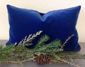 French Blue Belgium velvet pillow cover. Blue velvet pillow. Velvet pillow.