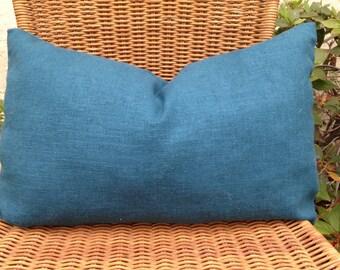 Teal Lumbar/Linen Teal boudoir pillow/ burlap pillow/Teal  spa pillow/ 12 x 18 teal linen pillow/Linen teal pillow/Teal throw pillow/