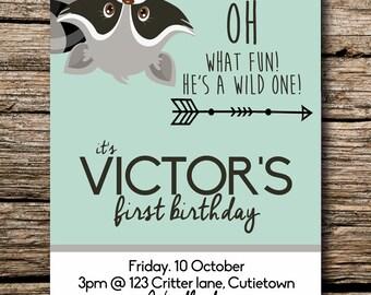 Digital , Printable, Birthday, Invite, Invitation,  Cute Critters 2