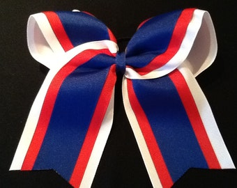 Red White Blue Grosgrain Cheer Bow Softball Bows Volleyball Bows Soccer Bows