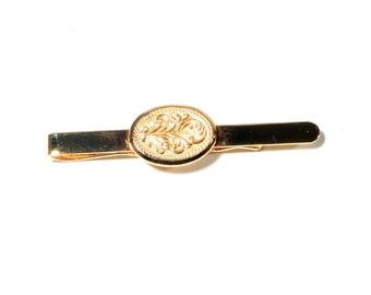 Vintage Czechoslovakian gold tone flower design dress tie scarf clip 347-403