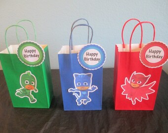 PJ Masks goody bags(10)pj masks favor bags,pj masks birthday,pj masks party,pj masks gift bags,pj masks favors,pj masks treat bags,pj mask