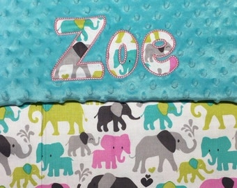 """Baby Girl Pink & Teal Elephants Minky Blanket with Appliqued Name 30""""x36"""""""