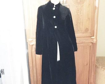 Black Bohemian Chic Velvel Rhinestone Buttons Opera Dress Jacket Coat