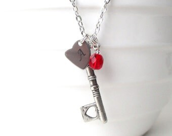 Key necklace - Valentine's gift for her Heart key necklace - Personalised birthstone jewellery - Gift for girlfriend- Gift for Fiance - UK