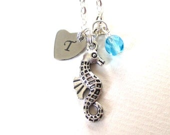 Personalised seahorse necklace - Birthstone necklace - Initial necklace - Charm necklace - Birthday gift - Ocean jewellery - UK seller