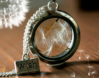 Dandelion locket necklace glass seeds wish charm