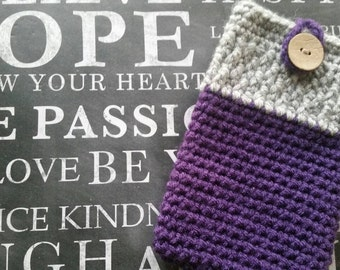 Cell phone case. Purple and grey.  Handmade crocheted smartphone cozy. Stylish phone case.