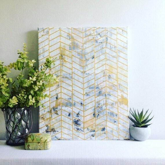 Custom Chevron Herringbone Design with Abstract Background, Original, Hand-Painted  // Wall Art, Canvas Art, Gallery Wall