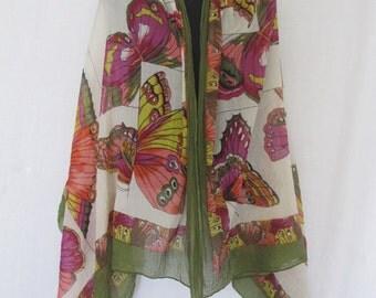 Butterfly Scarf Gauze Shawl Chiffon Shawl Boho Shawl Cotton Shawl