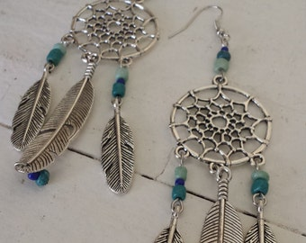 Silver Feather and Blue Glass Bead Dreamcatcher Earrings, Silver and Blue Dreamcatcher, Feather Earrings