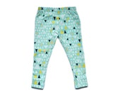 Baby Leggings, Mint Triangle Leggings, MADE TO ORDER Cotton Leggings by The Little Spoons