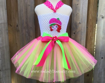 NEW-strawberry shortcake dress strawberry shortcake birthday outfit strawberry shortcake tutu strawberry shortcake costume hot pink green