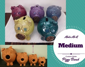Medium Custom handmade piggy bank, piggy bank for girls, piggy bank for boys, pottery piggy bank, ceramic piggy bank, girls piggy bank