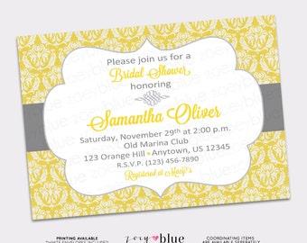 Yellow & Gray Bridal Shower Invitation Grey Damask Gold Baby Shower Printable Invite - Digital File