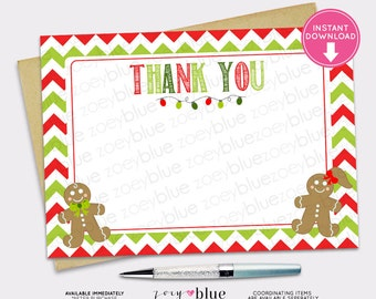 Christmas Thank You Card Gingerbread Cookie Red White Green Chevron Winter Birthday Cookie Exchange INSTANT DOWNLOAD Printable Digital File