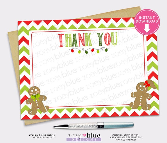 Christmas Thank You Card Gingerbread Cookie Red White Green Chevron
