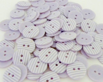 10 x 15mm Lilac Stripe Buttons