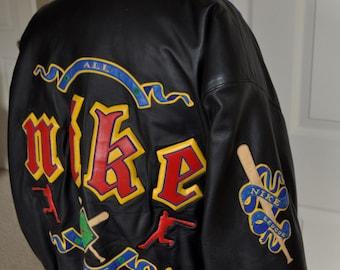 Vintage NIKE All LEAGUE Baseball leather jacket Sz XL.
