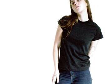 Organic Cotton Black Tee - Soft, Stretchy, Lightweight Organic Cotton Teeshirt