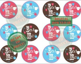 Alice in Wonderland Cupcake Toppers Eat Me Party Decor Pink Aqua Brown Teacup Heart Diamond Pocket Watch Storybook Cover Style Sheet of 12
