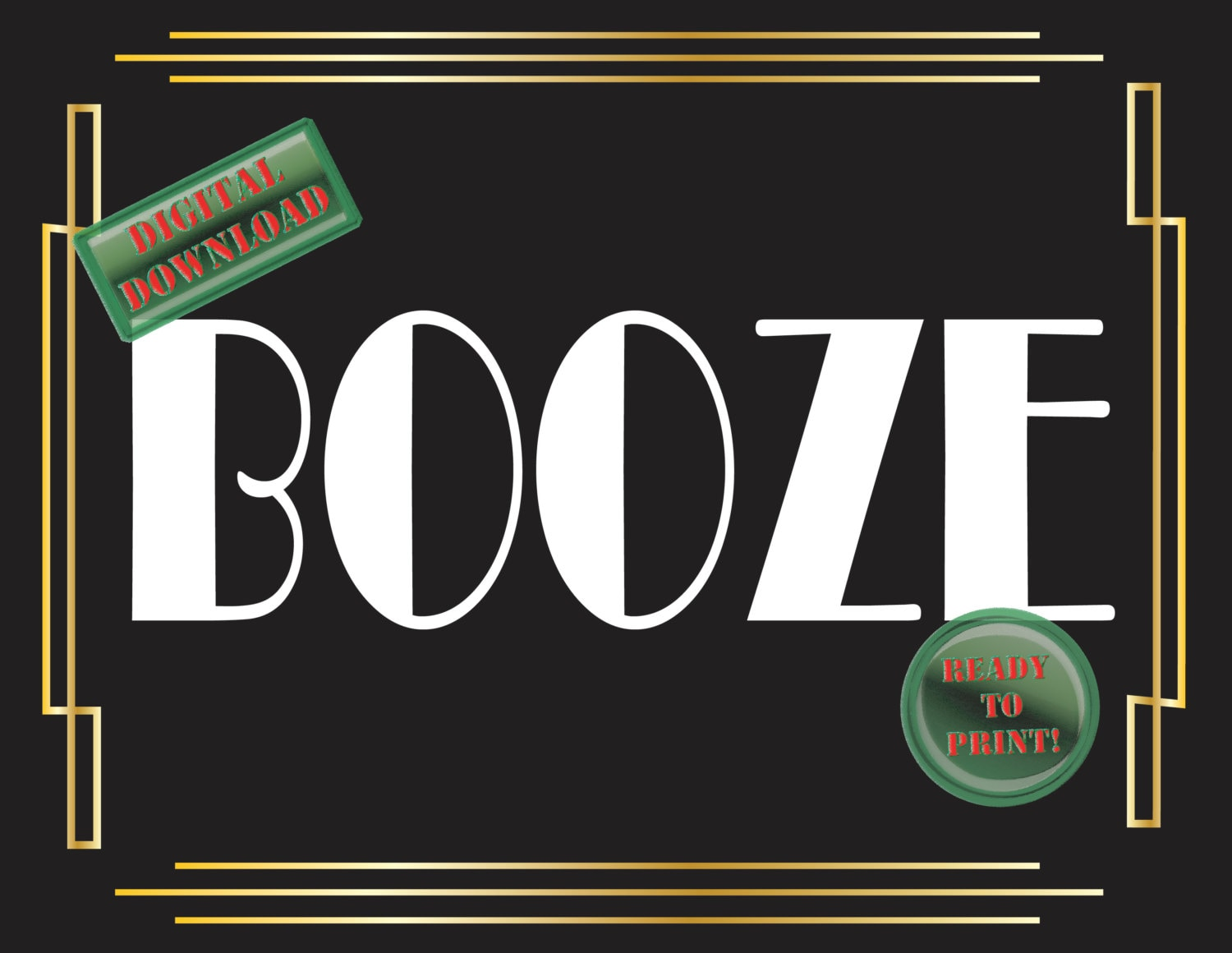 Booze printable bar sign art deco food table sign roaring 20s for Cuisine art deco