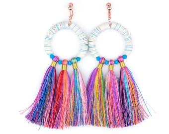 White Mahlangu Fringe Hoop Earrings by SJO JEWELRY Tribal Rainbow Tassel Statement Boho Festival Earrings Clip Ons