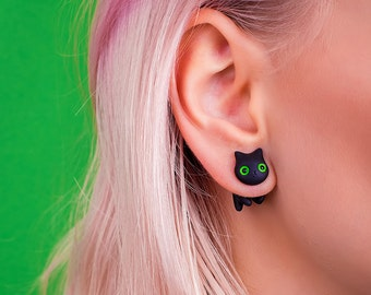 Black Cat Earring | Green Eyes | Green Stud | Handmade & Handpainted | Classic Collection