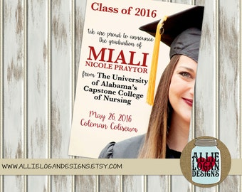 Graduation Invitation for College or High School - ANY COLORS - Printed or Digital!