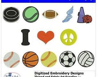 Embroidery Design CD - Peace Love Sports(1) - 13 Designs - 9 Formats - Threadart