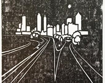 Atlanta Cityscape Block Print (paper type upon request)