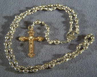 Vintage yellow gold tone bead bold rosary cross Jewelry Art Deco Style **RL